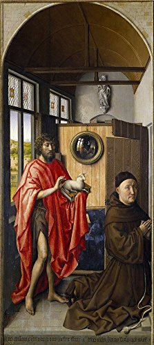 Oil painting ` Campinロバート・Saint John the Baptist and the Franciscan Heinrich von Werl 1438`印刷ポリエステルキャンバスに、30x 67インチ/ 76x 171cm、The Bestゲームルーム装飾装飾およびギフトはこの最高価格アート装飾プリントキャンバス