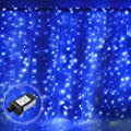 Excelvan Safe Low Voltage Window Curtain Light 19.6x9.8FT 600 LEDs Christmas Curtain Transparent String Fairy LED Lights for Christmas, Wedding, Home, Party, Holiday Decoration, Blue White