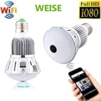 WEISE 1080P HD WIFI Hidden Spy Camera 360° Wide Angle Camcorder LED Light Bulb Wireless IP Video Recorder Mobile Phone Real-Time View Movement Alarm Nanny Cam