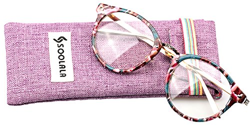 SOOLALA Retro Clear Lens Cateye Glasses Frame Magnifying Reading Glasses Customized Strengths, Floral, - Sunglasses Customized Cheap