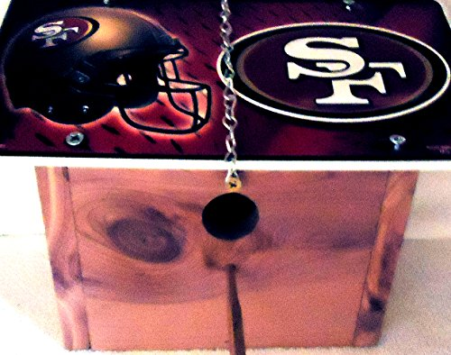 1 , Forty-Niners Cedar Bird House, with a , SAN FRANCISCO FORTY-NINERS, Metal Sign, Roof, 1.25in. Opening+With+Perch+With+Chain+11B+29B5.0,,1901