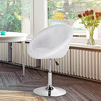 WATERJOY Swivel Bar Chair, Round Tufted Back Swivel Chair, Chrome Adjustable Leather Bar Accent Stool Chair with Hydraulic Lift, White