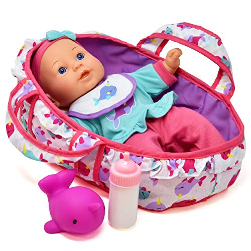 (Baby Doll Feeding Set, 12 Inch Soft Body Baby Doll with Carrier Bassinet Bed, Includes Play Doll, Realistic Bottle, Bib and Rubber Dolphin)