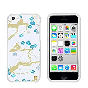 Premium Protection Slim Light Weight 2 piece Snap On Non-Slip Matte Hard Shell Rubber Coated Rubberized Phone Case Cover With Design For Iphone 5C/ IPhone 5C Lite - Blue Blossom - White - Retail Packaging