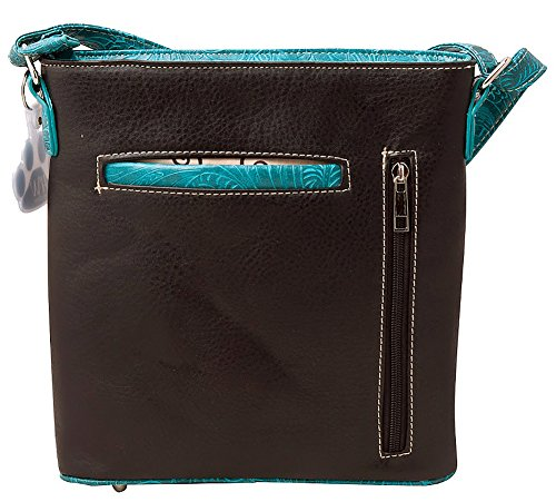 Western Handbag HW Doves Colored Collection Rhinestone Cross Concealed Carry Purse Crossbody Turquoise 5g4wqZg