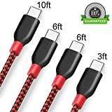 Jebei USB Type C Cable, 4Pack 3FT 6FT 6FT 10FT Nylon Braided USB A to USB C Charger Cable Fast Charging Cord for Samsung Galaxy Note 8 S8 Plus, LG G5 G6 V30, HTC 10, Nexus 5X/6P,Google Pixel XL(Red)