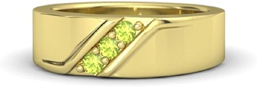 14k Yellow Gold Plated Three Stone Round Cut Peridot Stone Mens Wedding Band Anniversary Ring