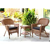 Jeco W00205_2-CES017 3 Piece Wicker Chair and End Table Set with Black Cushion, Honey