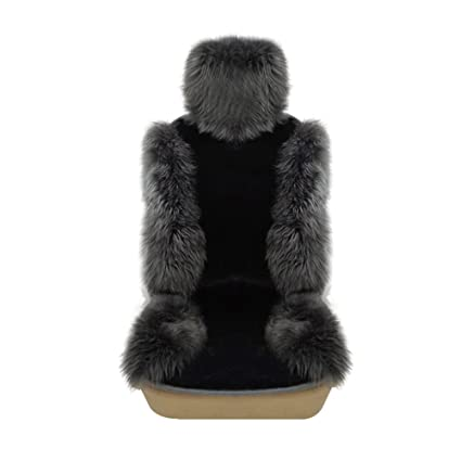 Rownfur Genuine Australia Sheepskin Car Seat Cover Artificial Plush Cushion Universal For All Type