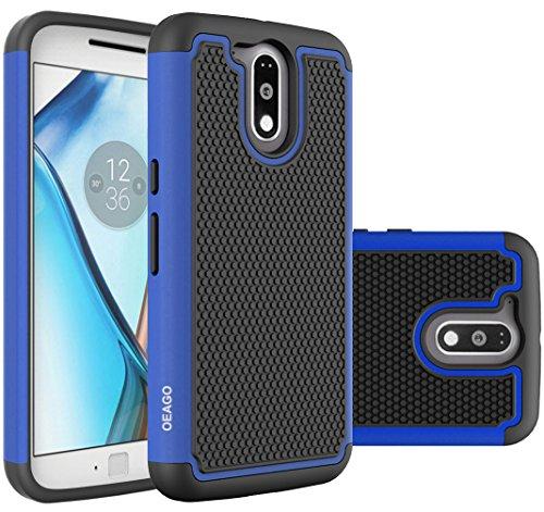 Moto G4 Case, Moto G4 Plus Case - OEAGO [Shockproof] [Impact Protection] Hybrid Dual Layer Defender Protective Case Cover for Motorola Moto G4 / G4 Plus (Moto G Plus, 4th Gen) - Blue