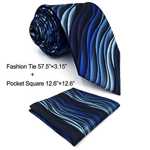 Shlax&Wing Ripple Blue New Men Design Necktie Ties Wedding Graduated Color by S&W SHLAX&WING
