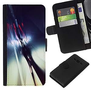 KLONGSHOP // Tirón de la caja Cartera de cuero con ranuras para tarjetas - Resumen Reflexión Cristal Azul Blanco - Samsung Galaxy A3 //