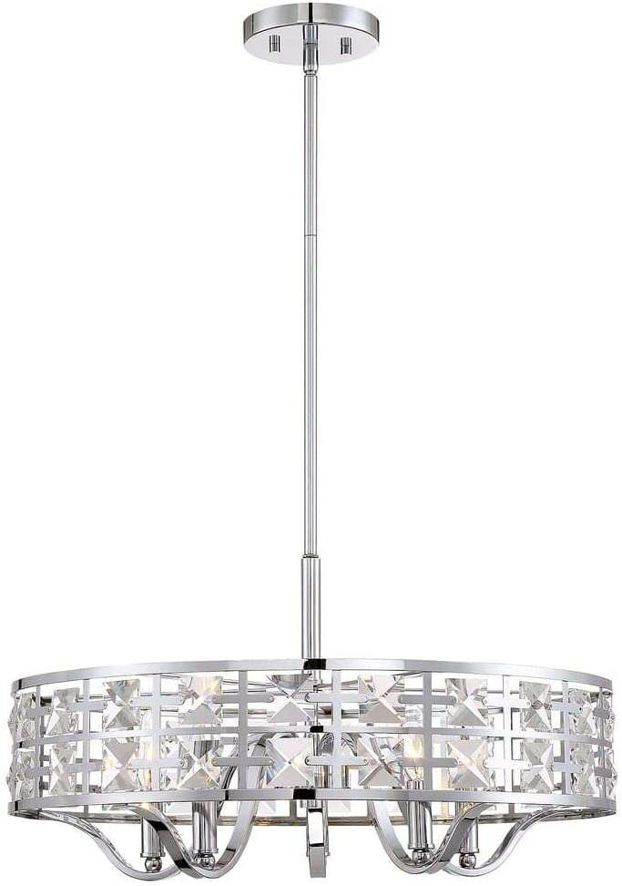Trade Winds Lighting TW021306CH Adjustable Height Modern Hanging Drum Pendant with Brilliant Crystals, 60 Watts, in Chrome