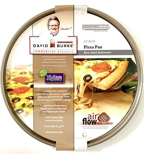 - Gourmet Pro PFOA and PTFE Free Commercial Bakeware 14 inch Bronze Non-Stick Pizza Pan with Air Flow Technology