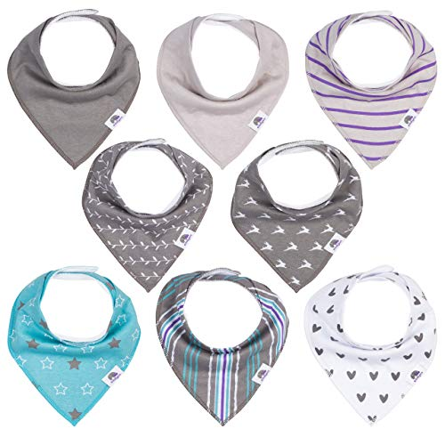 Baby Bandana Drool Bibs Set (8-pack) by Emilysa - 2 Snaps for Adjustable Size - Double Layer, Soft, Absorbent Cotton Bib for Drooling and Teething Boys or Girls - Unisex Colors and Patterns