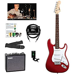 Fender Squier Bullet Strat with Tremolo Electric Guitar Kit, with Sawtooth 10W Amp, and ChromaCast Accessories, Fiesta Red