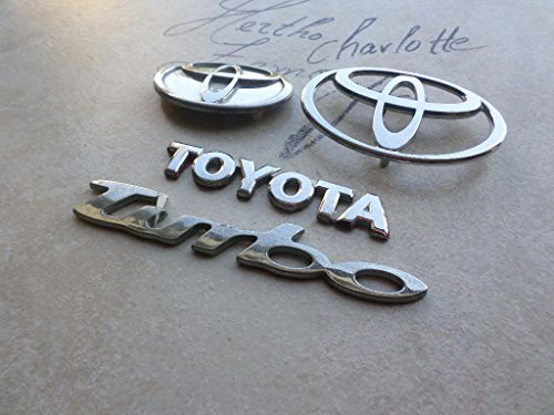 92-95 Toyota Paseo Turbo Front Grille Abs 8244 Silver Emblem Tailgate Logo Abs 8243 Mascot Ornament Script Set of 4 (Turbo Paseo Toyota)