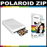Polaroid ZIP Mobile Printer ZINK Zero Ink Printing Technology - With Polaroid 2x3 inch Premium ZINK Photo Paper (100 Sheets)- White