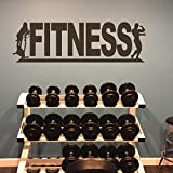 ll Gym Decal Letter Vinyl Fitness Wall Decal Teen Room Art Mural (Large,Wh