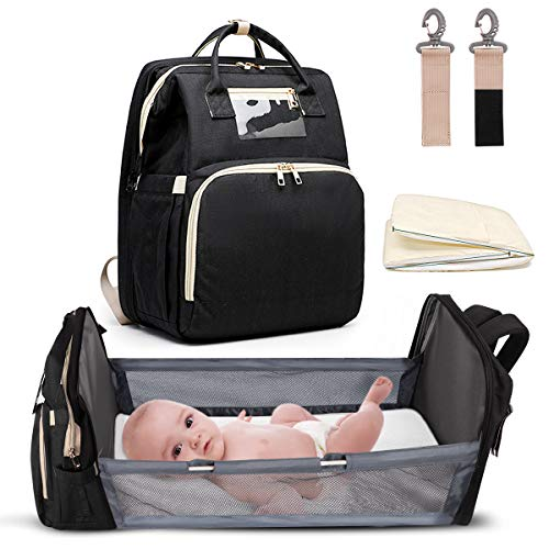 5-in-1 Travel Bassinet Foldable Baby Bed, ZOUNICH Diaper Bag Backpack Changing Station for Men Women,Portable Bassinets…