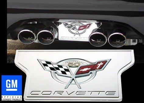 Corvette Exhaust Plate - Billet Chrome with 50th Anniversary Logo : C5 & Z06