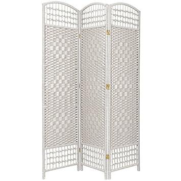 Oriental Furniture 5 1 2 Ft Tall Fiber Weave Room Divider White