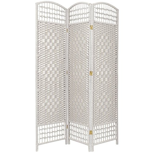 Oriental Furniture Most Popular Room Dividers and Floor Screens, 5.5-Feet Open Diamond Weave Natural Fiber Folding Screen, White, 3 Panel Size