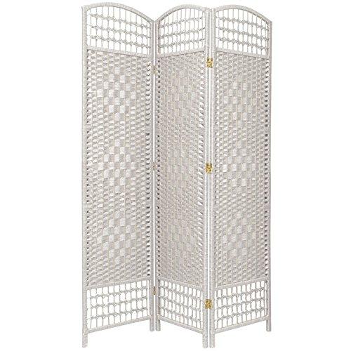 Oriental Furniture 5 1/2 ft. Tall Fiber Weave Room Divider - White - 3 (3 Panel Folding Floor Screen)