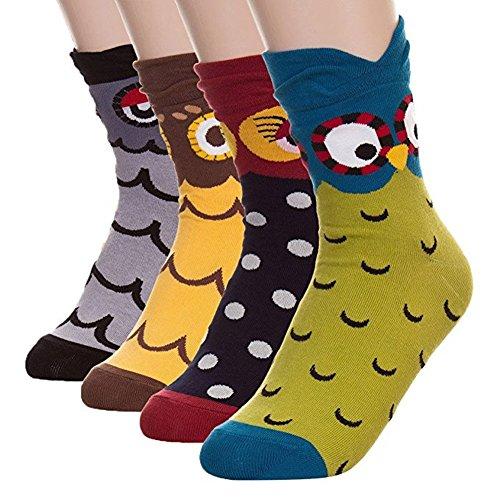 Womens Cat Animal Casual Socks - Novelty Christmas Gift Idea, Perfect Secret Santa Present for women - Best Gift Idea for Cat Lover (Owl 4)