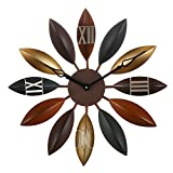 """Cheap Decorative Large Clock, Eruner European Industrial Craft Iron Leaves Non-sticking Wall Clock Home Living Room Cafe Bar Leaf Decoration 22"""" Oversized"""