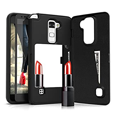 Vettore by Zizo for LG Stylo 2 LS775 case All-in-One Wallet Case w/ [Built-In Mirror][Kickstand]and 0.33mm 9H Tempered Glass Screen