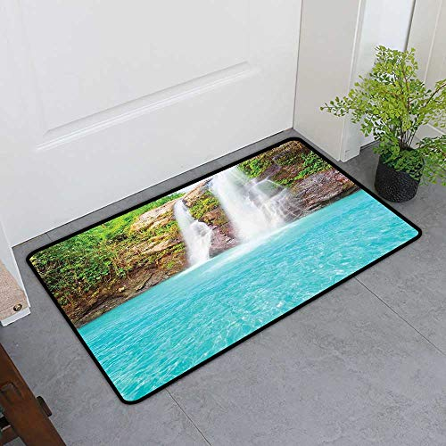 TableCovers&Home Low-Profile Mat, Waterfall Doormats for High Traffic Areas, Waterfall and Clear Natural Pool Plants Sunbeams in a Summer Day View (Aqua Green Pale Brown, H16 x W24)