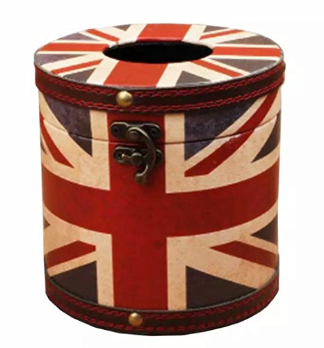 (S Forever Vintage Series Waterproof Faux Leather Square Roll Tissue Box Cover (Circle - British Flag) )