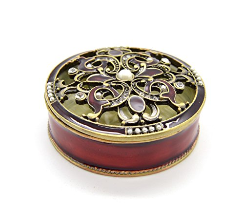 (Mbd Decorative Round Enamel Jewelry Trinket Box with Crystal Accents)