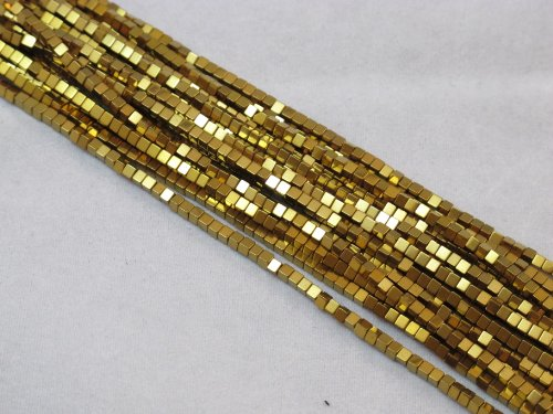 BRCbeads Hematite Beads Cube Shape 2x2mm Plated Gold Color Approx 15.5 Inch 180pcs ()