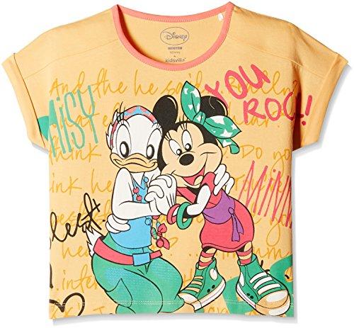 Mickey & Friends Girls' T-Shirt (MF0EGT155_Mango & Star White_11 - 12 years)