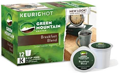 Green Mountain Coffee Keurig Single-Serve K-Cup Pods, Breakfast Blend Light Roast Coffee, 12 Count (pack of 6)