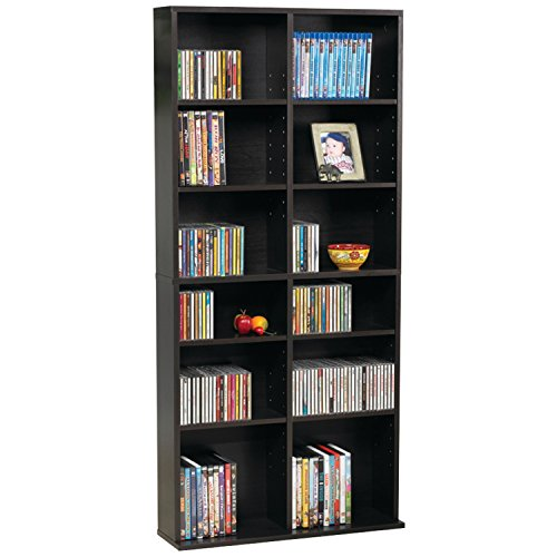 atlantic 38435719 oskar media cabinet for 464 cd or 228 dvd, espresso