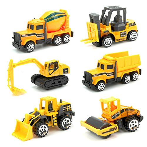 JellyDog Inertia Toy Early Engineering Vehicles Friction Powered Kids Dumper, Bulldozers, Forklift, Tank Truck, Asphalt Car And Excavator Toy For Children Kids Boys And Girls, Set of (Construction Toys)