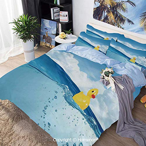 Bedding Sheets Set 3-Piece Bed Set,Little Duckling Toy Swimming in Pond Pool Sea Sunny Day Floating on Water,Queen Size,Include 1 Quilt Cover+2 Pillow case,Blue and Yellow