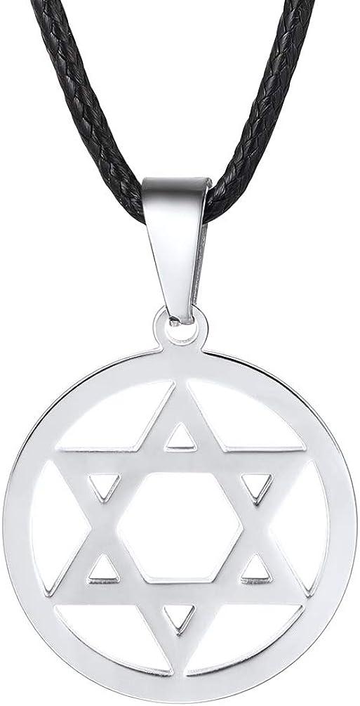 PROSTEEL Collar de Cuero con Colgante de Estrella de David de Acero Inoxidable 55cm/61cm/66cm Colgante Religioso para Hombre Mujer Niños