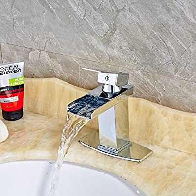Senlesen Modern Single Handle Waterfall Bathroom Sink Faucet Chrome Finish