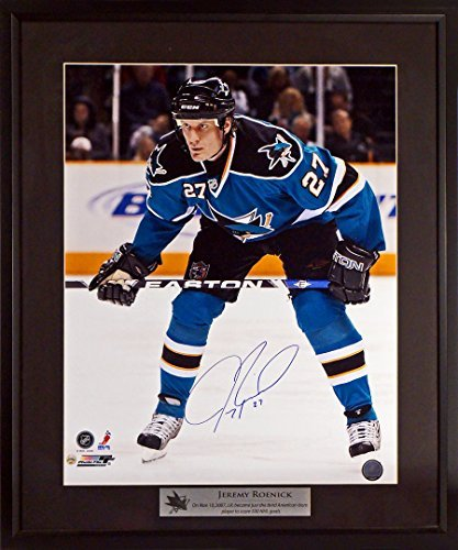 9686236eb Jeremy Roenick Autographed SJ Sharks 16x20 Photograph w  500th Goal  Floating Plate Framed (COA
