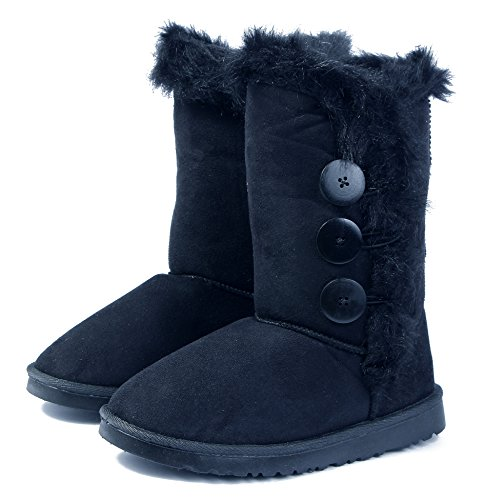 AgeeMi Shoes Women Round Toe Warm Flat Lined Snow Boots With Three Breasted Black nYE7RHiiAW