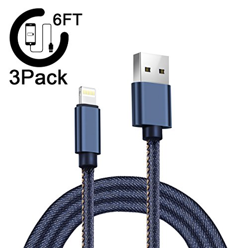 AOFU Lightning Cable,iPhone Cable iPhone Charger 3Pack 6FT 6FT 6FT Extra Long Nylon Braided Cord to USB Charging for iPhone X/8/8 Plus/ 7/7 Plus/6/6 Plus/6S/6S Plus,SE/5S/5 ,and more(Denim Blue) (NZ-Blue-002)