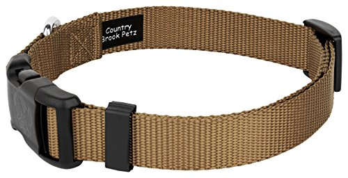 Country Brook Petz 25+ Classic Solid Colors - Deluxe Nylon Dog Collar - Quick Release Buckle, Strong Hardware - Made in The U.S.A. (Extra Large, 1 Inch Wide, Coyote Tan)