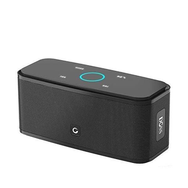 Enceinte Bluetooth 12W, DOSS SoundBox Haut-Parleur Bluetooth sans Fil Portable,Commande Tactile et Définition Stéréo, 12 Heures d'Autonomie en Lecture,Mains Libres Téléphone, Carte TF Support.-Noir 1