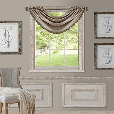 Amazon Com Elrene Home Fashions All Seasons Room Darkening Rod Pocket Waterfall Window Valance 52 X 36 1 Silver Home Kitchen