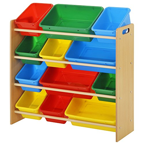 Sandusky Lee KBO-341030BC Kids Bin Organizer with 12 Plastic Bright Color Bins, Length: 10.5″, Height: 30.7″, Width: 34″