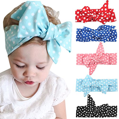 Evelin LEE 5pcs Baby Girl Cutt Polka Dot Turban Headband Knotted Hair Wear (Party Cutt)